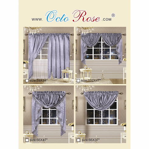 Octorose ® Royalty Custom Waterfall Window Valance and Swags & Tails 66x47""