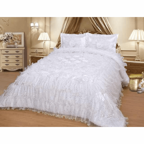 Octorose ® White Royalty Oversize Wedding Bedding Bedspread Comforter Quilts Set
