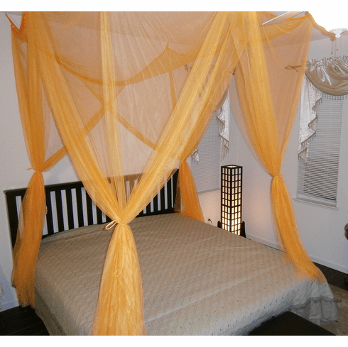 Orange 4 POSTER BED CANOPY FUNCTIONAL MOSQUITO NET FOR FULL QUEEN KING BED