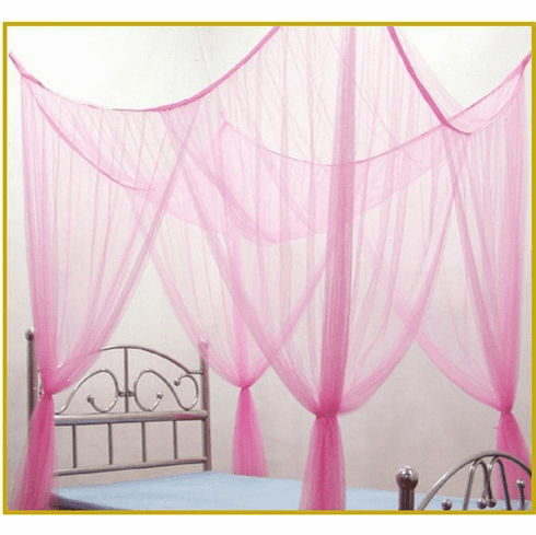 Pink 4 Corner / Post Bed Canopy Mosquito Net for Full Queen King