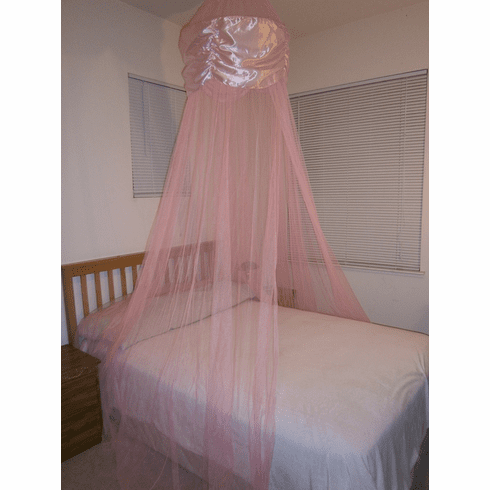 Pink Hoop Valance Bed Canopy Mosquito Net fit all size bed outdoor party and camping