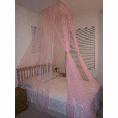 Pink Octorose ® Square Top Bed Canopy Mosquito Insect Net Fit All Size Bed From Crib, Twin, Queen, King and Cal King