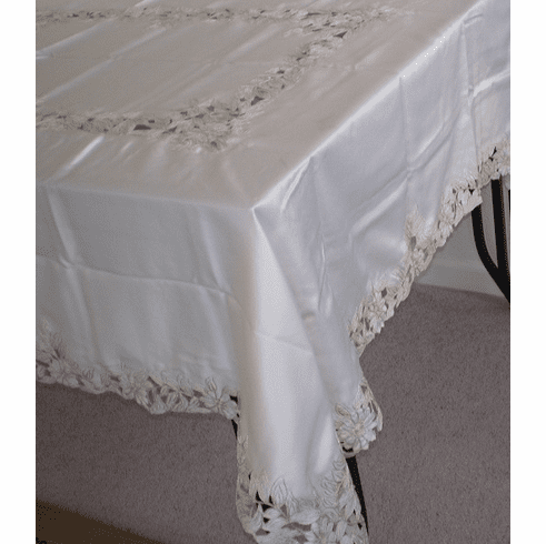 Satin hand cut work table cloth 72x90""