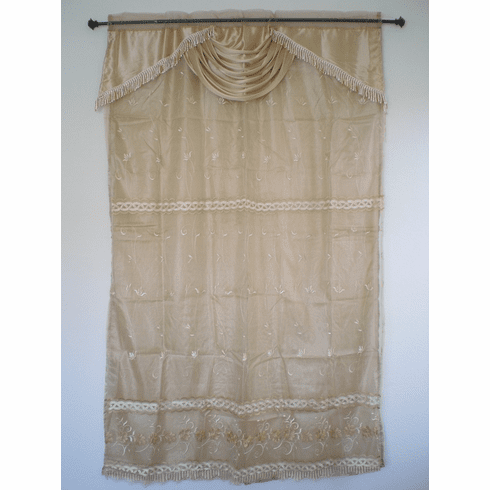 Sheer embrodiery window curtain / panel / drape with valance and sheer lining