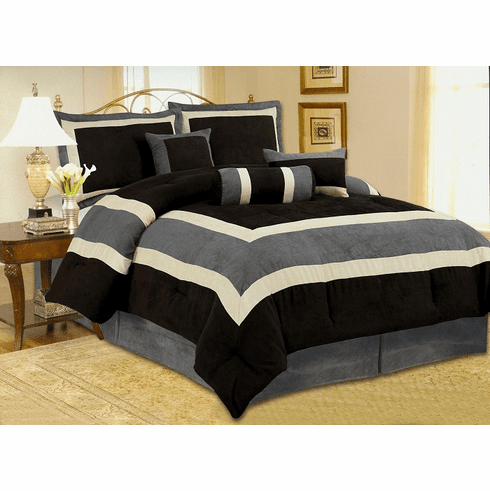 Soft Micro Suede Comforter Set Bedding-in-a-bag, Black