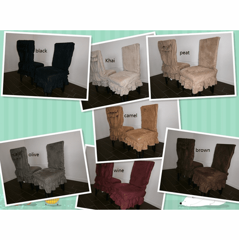 """Soft Micro Suede Set of Two Shortly Dining Chair Covers fit up to 42""""H"""