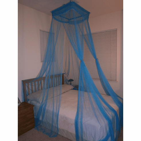 Teal Blue Octorose ® Square Top Bed Canopy Mosquito Insect Net Fit All Size Bed From Crib, Twin, Queen, King and Cal King