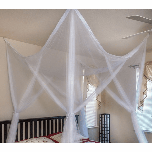 WHITE 4 POSTER BED CANOPY FUNCTIONAL MOSQUITO NET FULL QUEEN KING