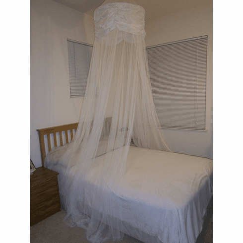 White Hoop Valance Bed Canopy Mosquito Net fit all size bed outdoor party and camping