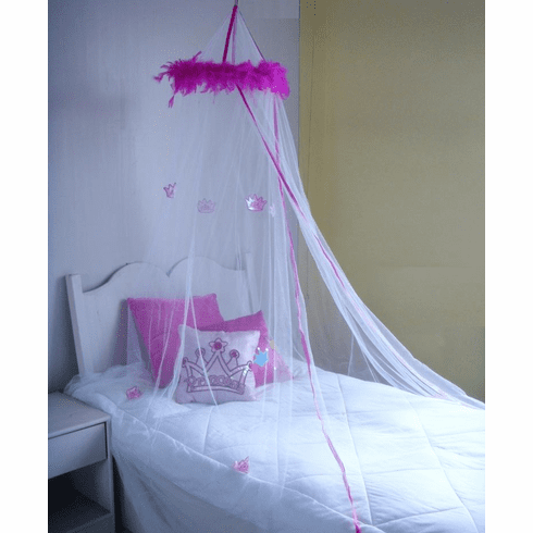 WHITE with crown BED CANOPY MOSQUITO NET CRIB TWIN