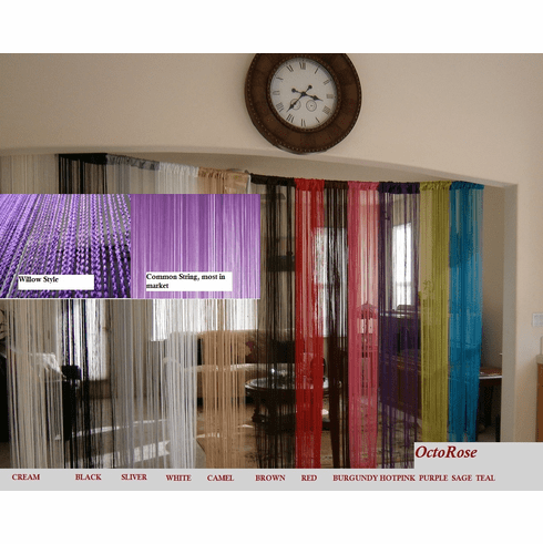 Willow Fashion String Curtain for windows, wall decor , door divider and party event 40 x 110 inches