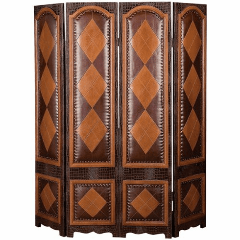 "wood leather 4 panel screen room divider 71""h, 64""w"