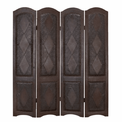 """wood leather 4 panel screen room divider 71""""h, 64""""w"""