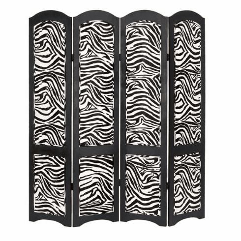 "wood leather 4 panel zebra screen room divider 71""h, 64""w"