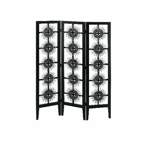"wood metal 3 panel screen room divider 70""h, 51""w"