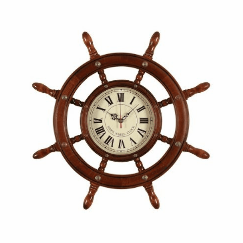 "wood nautical clock 21""D"