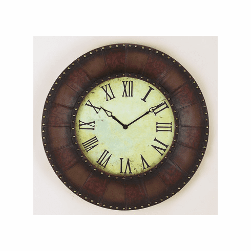 Wrought Iron and Leather Border Wall Decor Clock 32.5D  - $5.49 S&H Only