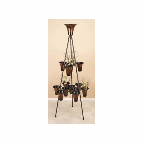 wrought iron metal 14 plant tray and plant stand 67h, 27w
