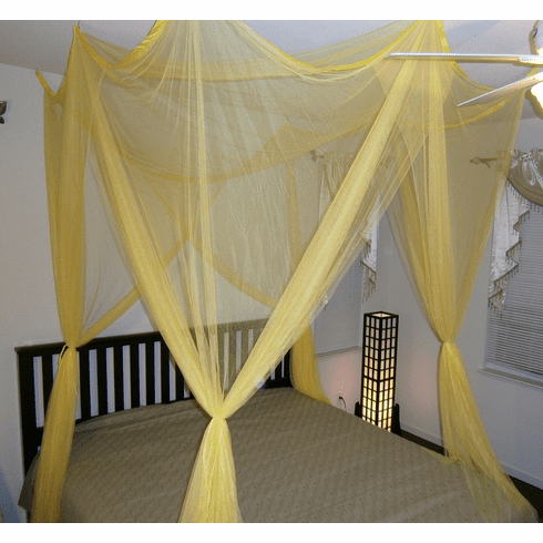 Yellow 4 POSTER BED CANOPY FUNCTIONAL MOSQUITO NET FOR FULL QUEEN KING BED