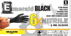 6X Black Nitrile Exam Gloves 6 Mil