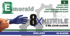 8X Blue Nitrile Gloves 8 Mil