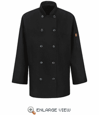 041XBK Women's Black Ten Button Chef Coat with MIMIX™ and OILBLOK