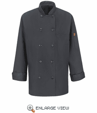 041XCH Women's Charcoal Ten Button Chef Coat with MIMIX™ and OILBLOK