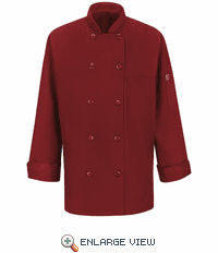 041XFR Women's Fireball Red Ten Button Chef Coat with MIMIX™ and OILBLOK