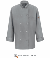 041XGY Women's Grey Ten Button Chef Coat with MIMIX™ and OILBLOK