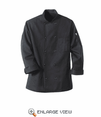 0425BK Pearl Button Black Spun Polyester Chef Coat