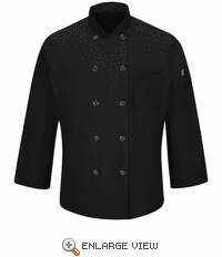 042XBK Men's Black Ten Button Chef Coat with MIMIX™ and OILBLOK