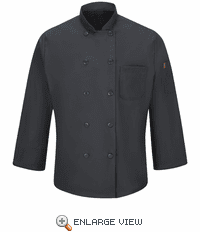 042XCH Men's Charcoal Ten Button Chef Coat with MIMIX™ and OILBLOK