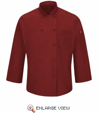 042XFR Men's Fireball Red Ten Button Chef Coat with MIMIX™ and OILBLOK