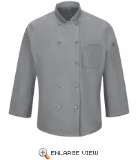 042XGY Men's Grey Ten Button Chef Coat with MIMIX™ and OILBLOK
