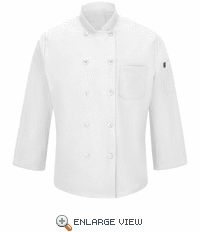 042XWH Men's White Ten Button Chef Coat with MIMIX™ and OILBLOK