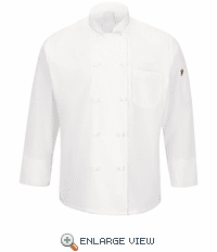 044XWH Men's White Ten Knot Button Chef Coat with MIMIX™ and OILBLOK
