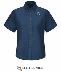 1108NV Acura® Women's Navy Short Sleeve Poplin Dress Shirt