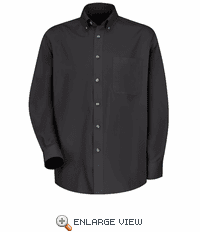 1T12BK Men's Black Long Sleeve Meridian Preformance Twill Shirt