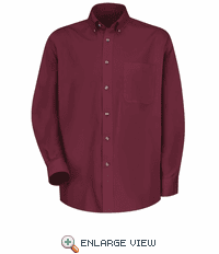 1T12BU Men's Burgundy Long Sleeve Meridian Preformance Twill Shirt