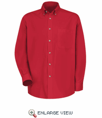 1T12RD Men's Red Long Sleeve Meridian Preformance Twill Shirt