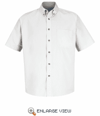 1T22WH White Short Sleeve Meridian Preformance Twill Shirt