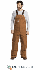 Carhartt ® Duck Quilt-Lined Zip-To-Thigh Bib Overalls (2 Colors)