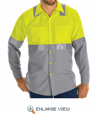 Hi Vis ShortSleeve Workshirt w/Refective Trim - SY14YG