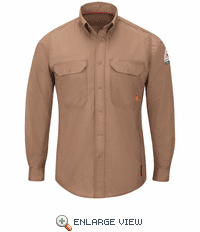 QS24BN IQ Series® Men's Brown Lightweight Comfort Woven Shirt