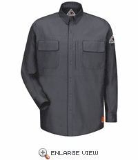 QS32CH iQ Series® Charcoal Comfort Woven Long Sleeve Patch Pocket Shirt