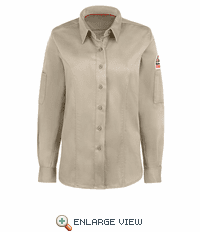 QS33LT IQ Series® Light Tan Comfort Woven Women's Long Sleeve Shirt