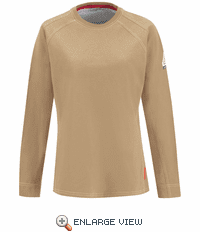 QT31KH  iQ Series® Comfort Knit Women's Khaki Long Sleeve Tee