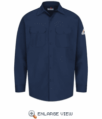 SEW2NV Excel-FR Navy Flame Resistant Button Front Work Shirt