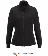 SEZ3BK Female Zip Front Black Fleece Jacket-Cotton/Spandex Blend