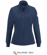 SEZ3NV Female Zip Front Navy Fleece Jacket-Cotton/Spandex Blend